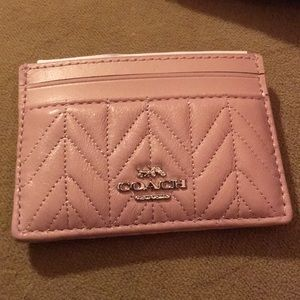 NWT COACH PINK LEATHER CARD HOLDER